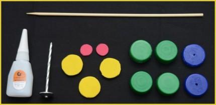 Alat-alat dan bahan yang dibutuhkan untuk membuat Fidget Spinner dari tutup botol