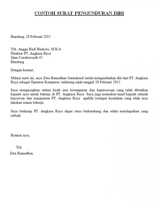 11 Contoh Surat Resign (Pengunduran Diri) Terbaru yang ...