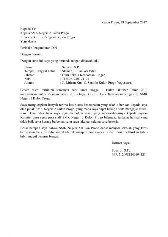 Resmi Contoh Surat Pengunduran Diri Dari Perusahaan