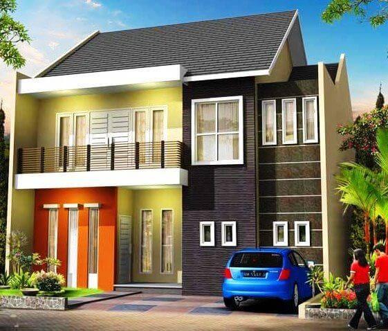 Contoh rumah dengan perpaduan cat tembok yang keren dan modern