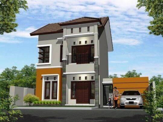 Model rumah minimalis 2 lantai tampak dari depan