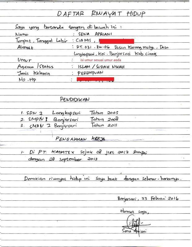 Contoh Daftar Riwayat Hidup Lamaran Kerja Tulis Tangan