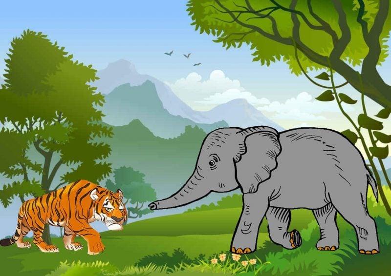 Cerita fabel pendek gajah, kerbau dan harimau
