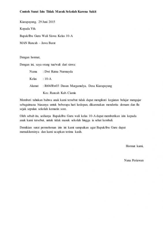 11 Contoh Surat Izin Tidak Masuk Sekolah Dan Cuti Kerja