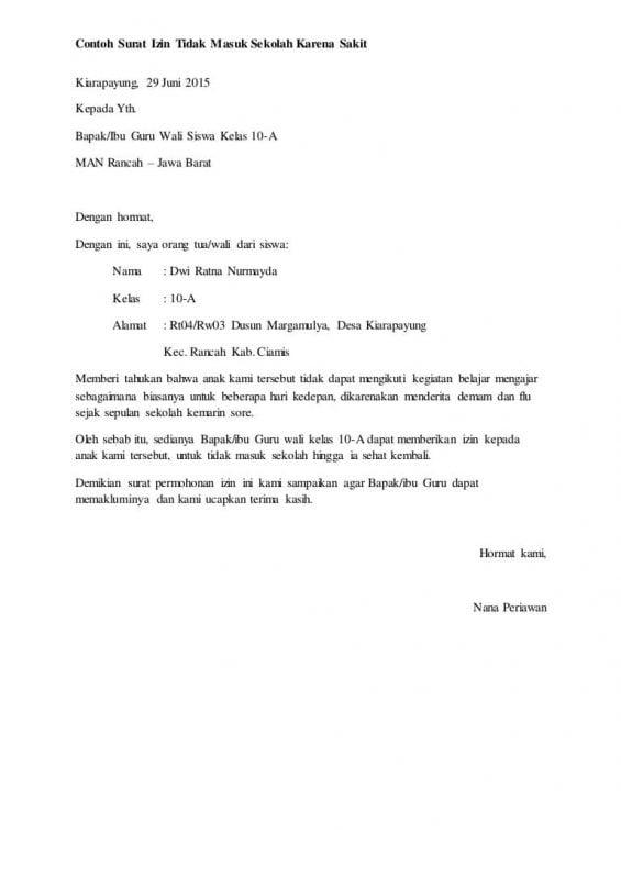10 Contoh Surat Izin Tidak Masuk Sekolah Dan Cuti Kerja Update